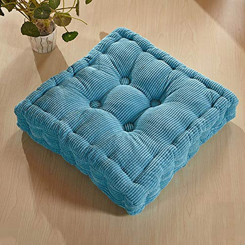 Lanlan Floor Cushion Square Floor Pillow Thicken Elastic Chair Cushion Solid Color Seat Cushion Square Floor Cushion for Home Office Chair 40X40cm Aqua Blue (Floor Cushion Square)