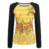 zen keurig - Weiding Traditional Ethnic Ornamental Icon Culture Bohemian Zen Spiritual Design Women's Stretchy Long Sleeve Raglan Tshirt XXL