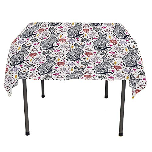 Egyptian Custom tablecloths Traditional Tattoo Pattern with Gothic Magic Icons Witchcraft Symbols Kitty Hands Multicolor Washable Outdoor Table Cloth Spring/Summer/Party/Picnic 60 by 84
