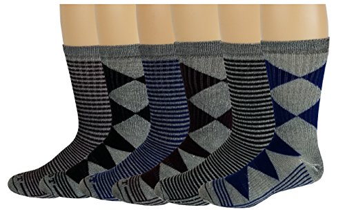 6 Pairs Pack Men's 71% Merino Wool Hiking Boot Socks 10-13 by Different Touch
