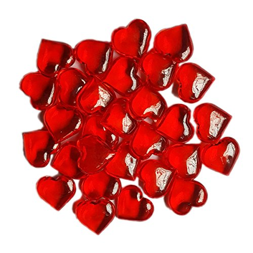 AiFanS 1LB(Approx 225Pcs) Red Acrylic Heart For Table Scatter Decoration or Vase Filler