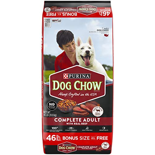 Purina Dog Chow Dry Dog Food, Complete Adult With Real Beef – 46 lb. Bag