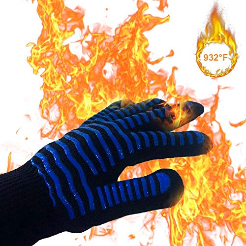 Walk Rhino BBQ Grill Gloves, 932℉ Extreme Heat Resistant Grilling Gloves , Silicone Non-Slip Cooking Oven Mitts, Soft & Durable Oven Gloves for Cooking,Grilling,Backing,Kitchen,Fireplace ( 1 Pair ) (Fireplaces Cooking Kitchen For)