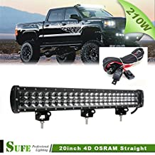 SUFE 20 INCH 210W Osram LED Light Bar For Offroad Truck Tractor Jeep 4X4 4WD Driving Lights (20'' 210W + Wire Harness)