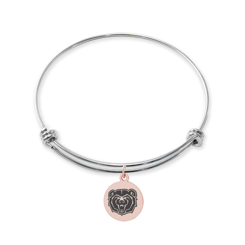 College Jewelry Missouri State Bears Stainless Steel Adjustable Bangle Bracelet with Rose Gold Plated Round Charm