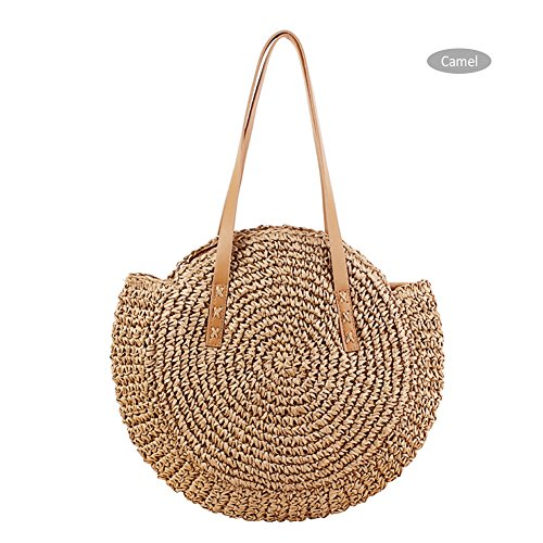 Yunhigh Round Woven Bag,Hand Woven Straw Bag with Leather Handle Braided Women Tote Bag Chic Retro Summer Beach Handbag Boho Style by Yunhigh