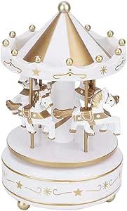 Muziekdoos, carrousel Muziekdoos 4-paardenmerchandise Klassieke carrousel Speeldoos Synthetische hars Duurzaam voor decoratie of cadeau(Wit)
