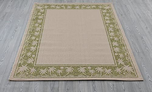 Amazon Com Gad Great American Distributors 5 3 X 7 7 Contemporary Indoor Outdoor Area Rug Beige Green Tropical Palms Perfect For Porch Patio Terrace Home Kitchen