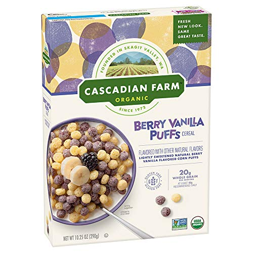 Cascadian Farm Cereal Organic Berry Vanilla Puff Cereal Box, 10.25 Ounce (Pack of 12)