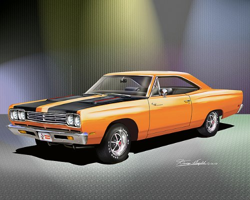 1969 PLYMOUTH ROAD RUNNER Vitamin C orange - ART PRINT POSTER BY ARTIST DANNY WHITFIELD- SIZE 16 X 20