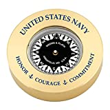 Brass Compass Chart Weight #NV661 0408; w/ United States Navy - Honor, Courage, Commitment (Text Printed in Navy Blue.)