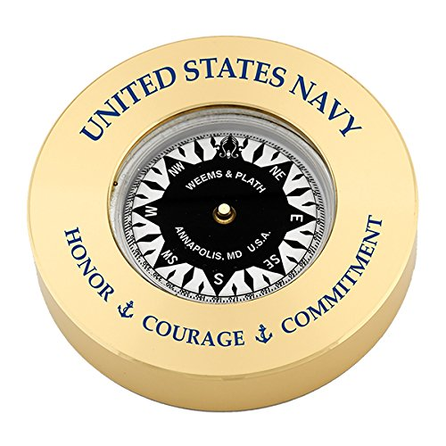 - Weems & Plath Brass Compass Chart Weight #NV661 0408; w/United States Navy - Honor, Courage, Commitment (Text Printed in Navy Blue.)