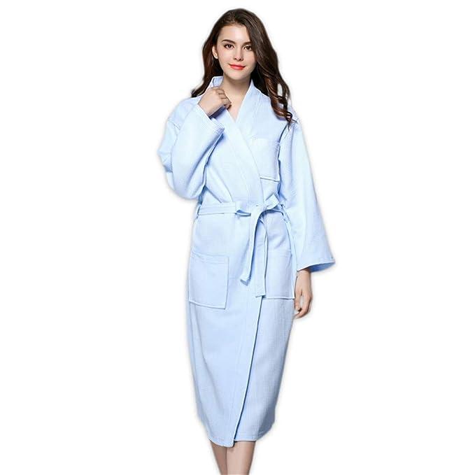 JYHTG Pijama Sencillos Azul 100% Algodón Batas Mujeres Largo Kimono Chino Batas De Baño SPA Batas Novia Túnica Boda, S: Amazon.es: Ropa y accesorios