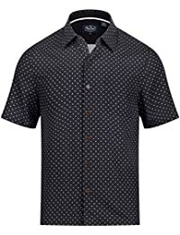 Fleural Short Sleeve Button up Shirt - Black