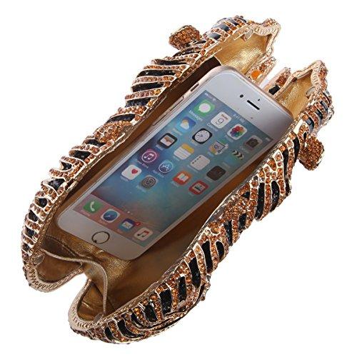 Clutch and Studded Purse Tiger Gold Big Glitter Clutch Bag Bonjanvye Evening IR6q00