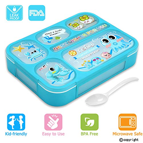 Leakproof Bento Lunch Box for Kids, FIOLOM 5 Compartments Divided Lunch Container Set with Spoon & Fork Cute Microwave Safe Meal Prep Box for Boys Girls Children School by FIOLOM (Image #7)