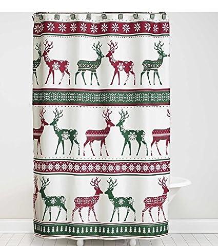 Amazon Bath Lodge Cabin Nordic Xmas Winter Reindeer Snowflake