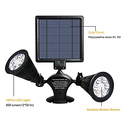 Solar Spotlight, OPERNEE Upgraded Motion Sensor Solar lights 12 LED 600LM Solar Powered Dual head Outdoor Security Lights for Patio Porch Deck Yard Garden Garage Driveway Outsides Wall