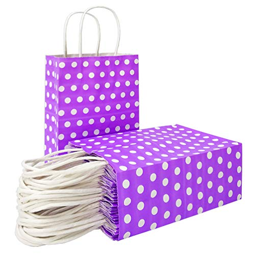 Purple Paper Gift Bags with Handles Polka Dot Paper Party Favor Bags for Kid's Birthday Wedding Holiday Party Supplies by ADIDO EVA(8.2 x 6 x 3.1 in 25 PCS Purple)