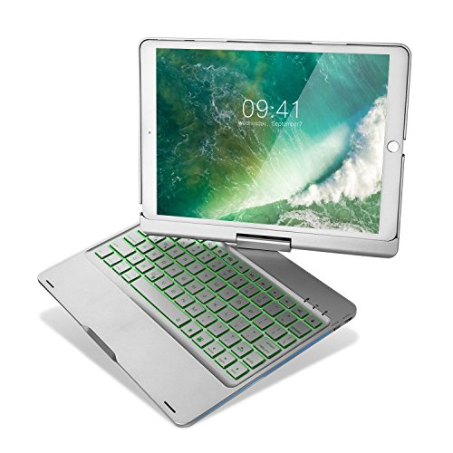 iPad Pro 10.5 Keyboard Case, iEGrow F360 7 Color Backlit and Dream Lighting Bluetooth Keyboard with 360 Degree Rotatable Case Cover for 2017 iPad Pro Model A1701/A1709(Silver) ()