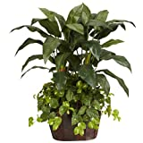 Nearly Natural 6636 Double Bird of Paradise with Vase and Pothos Decorative Silk Plant, 4-Feet, Green
