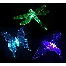 Fashionlite Solar Powered Outdoor Hummingbird, Butterfly & Dragonfly Solar Garden Stake Light, Chameleon Multi-color Changing LED Light,3 pack