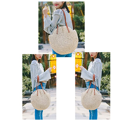Travel Bag Pt2 Cute Weave Outdoor Zip Crossbody Round Beach Summer Pompom Lady Shopping Ball Bag Bag Tote For Straw With Women's Fashion Abuyall Shoulder Large Bag Summer qBw4FUwv