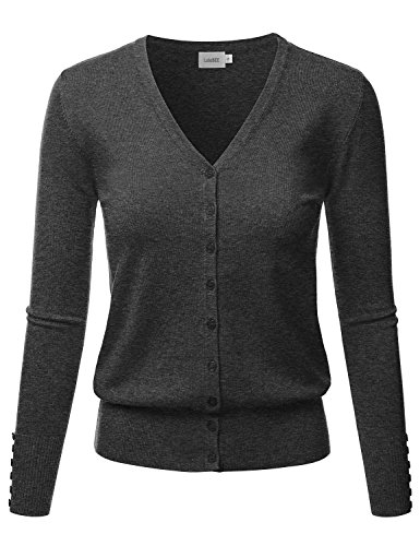 LALABEE Women's V-Neck Long Sleeve Button Down Sweater Cardigan Soft Knit-Charcoal-M