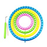 Aolvo Round Circle Hat Knitter Knitting Knit Loom Kit 4pcs Flower Loom + 1pcs Hook + 1pcs Needles DIY Kniting Tools