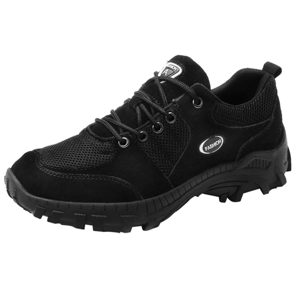 Corriee Men's Non-Slip Outdoor Hiking Shoes Mens Mesh Breathable Sneakers Walking Shoes Black