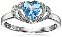 Sterling Silver and Diamond Open Halo Heart Ring