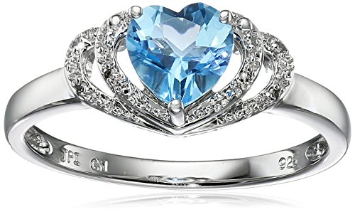 Sterling Silver Swiss-Blue-Topaz and Diamond Accent Open Halo Heart Ring, Size ()