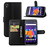 Fettion Alcatel OneTouch Idol 3 (5.5) Case, Fettion Premium PU Leather Wallet Flip Case Cover with Stand Card Holder for Alcatel OneTouch Idol 3 Mobile Phone (5.5 Inch Version) (Wallet - Black)
