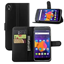 Fettion Alcatel OneTouch Idol 3 (4.7) Case, Premium PU Leather Wallet Flip Case Cover with Stand Card Holder for Alcatel OneTouch Idol 3 Mobile Phone (4.7 Inch Version) (Wallet - Black)