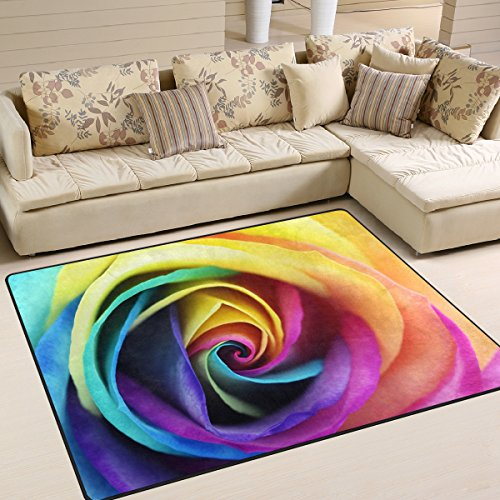 ALAZA Colorful Rainbow Rose Flower Area Rug Rugs for Living Room Bedroom 7' x 5' - Rose Area Rug