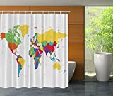 KANATSIU World Map Educational Geographical Earth Exclusive Decorations Atlas Shower Curtain 12 Plactic Hooks,100% Made Polyester,Mildew Resistant & Machine Washable,Width x Height is 72X72