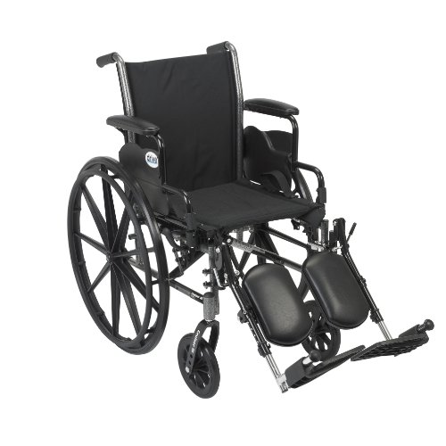 (Drive Medical Cruiser III Light Weight Wheelchair with Various Flip Back Arm Styles and Front Rigging Options, Flip Back Removable Desk Arms/Elevating Leg Rests, Black, 18 Inch)