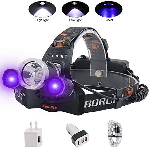 BORUIT Headlamp with Purple UV Light - Purple Ultra Violet Headlight - Glow in Dark Backlight Head Lamp -Detect Fake Money/Jewelry - Pet UV Urine & Stain Detector- Find Fluorescent Agent on Clothes (Best Headlamp For The Money)