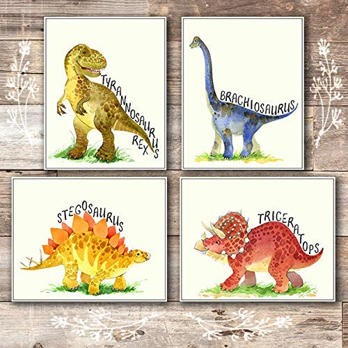 Dinosaur Bedroom Decor Wall Art Prints (Set of 4) - Unframed - 8x10s -