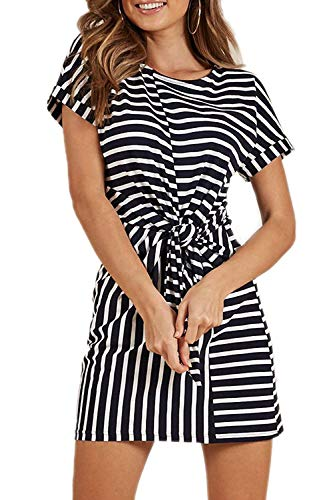 Timemory Women Round Neck Short Sleeve Tie Knot Front Striped Dress M Print ()