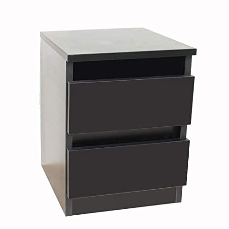 Chest Of 2 Drawers Bedside Table Black Wood Cabinet Black White Pine Side Table Living Room Bedroom Furniture Black