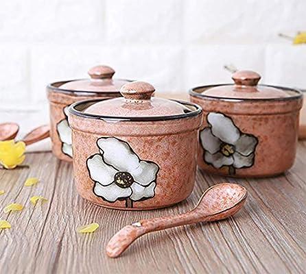Storage Container Condiment Jars Ceramic Seasoning Box Cruet With Ceramic Cover And Ceramic Spoon. ZYNWW Seasoning Rack Spice