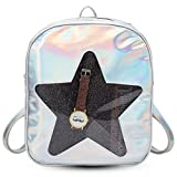 Girls Kawaii Bling Transparent Love Star School Bag Backpack (Star-Silver)