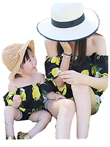 Sunward Summer Cute Mommy and Me Clothing,Printed Off Shulder Tops Blouse (S, Black(Mom))
