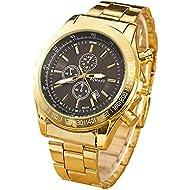Mens Watches - Classic Gold Watch for Men Stainless Steel Premium Quartz Wrist Watches Relojes by Sameno Watch Delux