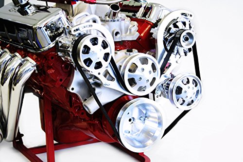 BBC Serpentine Front Runner Pulley Drive Kit Polished/Chrome A/C Alternator P/S ()