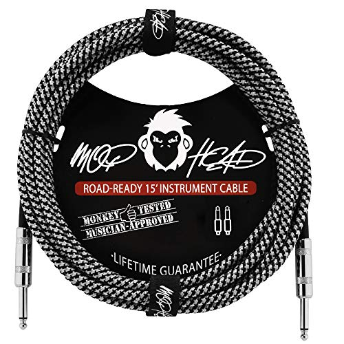 Mophead 15 Foot Double Insulated and Road Ready Braided 1/4in TS to 1/4in TS Guitar and Bass Instrument Cable Straight Angle Black and White