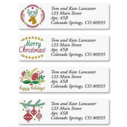 Salutations Christmas Personalized Return Address Labels - Set of 240, Small Self-Adhesive, Flat-Sheet Labels (4 Designs), By Colorful Images