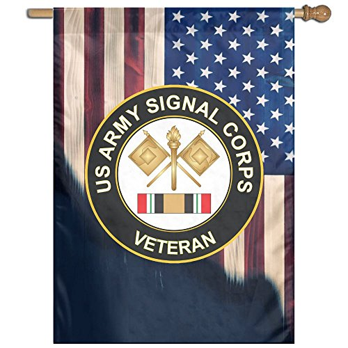 US Army Signal Corps Veteran With American Flag Welcome Garden Flag Yard Flag Family Flag 27