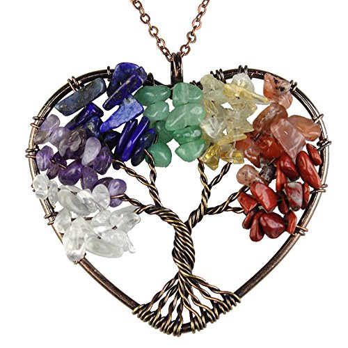 Natural Necklace, Tree of life Heart Pendant, Amethyst Argentina Rhodochrosite Chakra Gemstone Jewelry Multi-color (Multi Color Gemstone Heart)